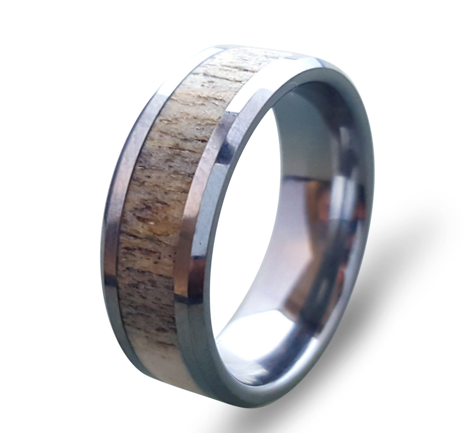 inlays elk s wedding products band by tooth divided and rings mens antler rose ivory men bands gold