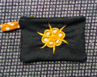 Handmade Orange Floral on Denim Coin Purse