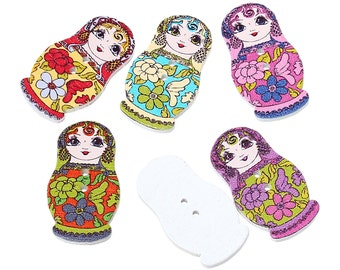 Wooden Fancy Russian Doll Buttons 3cm - suitable for sewing, card making, button art and lots more crafts