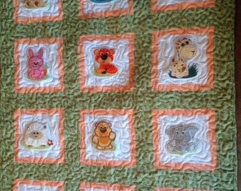 Cuddly Zoo Animals Baby Quilt