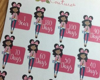 African American Disney Girl Countdown Planner Stickers