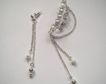 Silver Ear Cuff with Chain Matching Earring