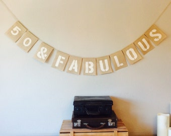 50th Birthday Bunting. Vintage Hessian Burlap Rustic
