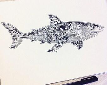 Great White Shark Zentangle Print - A3