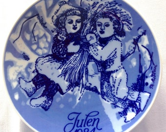 Porsgrund Christmas Plate - 1984 - Christmas Sheaf - Vintage Plate - Collectors Plate
