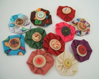Fabric flower pin, fabric flower brooch, handmade flower, bag pin, hat pin, floral brooch, shabby flower, bridesmaid favors, fabric flower