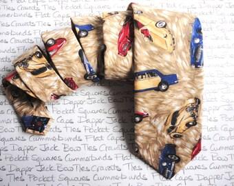 Men's Neck Tie, Classic Car Print, Hand Made Ties For Men