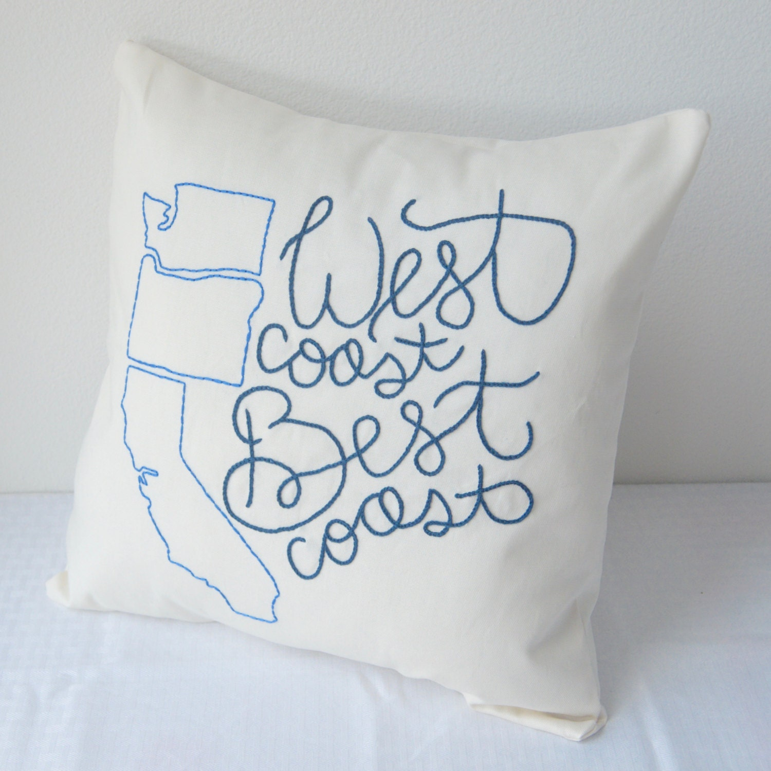 West Coast Best Coast Pillow Cover Hand Embroidered Washington
