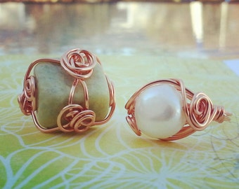 2pc Wire Wrapped Copper Ring Handmade, US Ring Size 7.5 Ring Set, Candmjewelrydesigns.