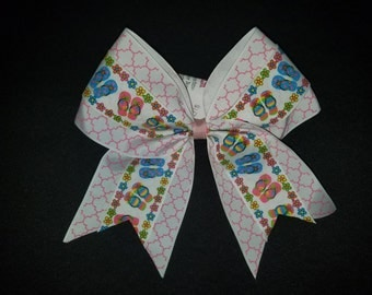 Summer Flip Flop Beach Cheer Bow