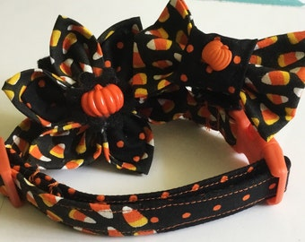 Black & Orange Candy Corn Halloween Collar for Dogs and Cat