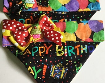Birthday Bandana with Bow for Male or Female Dogs and Cats