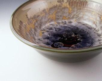 BOWL, large crystalline glazed high fire porcelain bowl, mocha brown crystalline pottery, large bowl, serving bowl, wedding gift