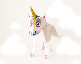 Unicorn Paper Toy / Party Favor / Printable / DIY Paper craft Kit / 3D Unicorn / INSTANT DOWNLOAD - by Kooee Papercraft
