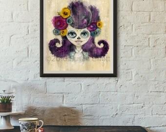 Dia de Los Muertos Party Girl Original Artwork
