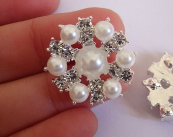 2 crystal buttons pearl rhinestone diamante upholstery wedding silver UK 6