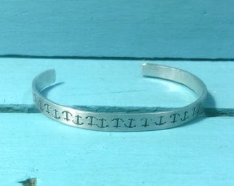 Anchors  Hand stamped metal cuff