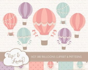 Vintage Girl Hot Air Balloons Clipart with Digital Papers - vintage hot air balloons clipart, hot air balloons vectors