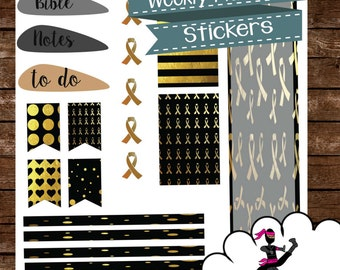 Bible Journaling Weekly Kit for Happy Planner- Go Gold Childhood Cancer Awareness Theme