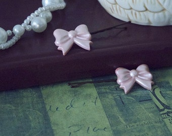 Pink Bow Bobby Pin Set