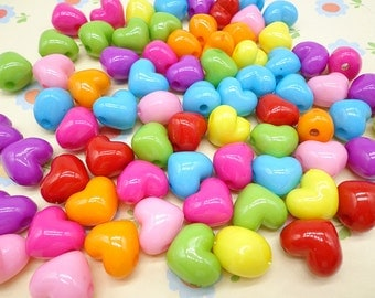 50pcs mixed color plastic heart bead with hole
