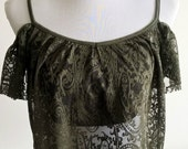 Green lace / off the shoulder gypsy top size 10