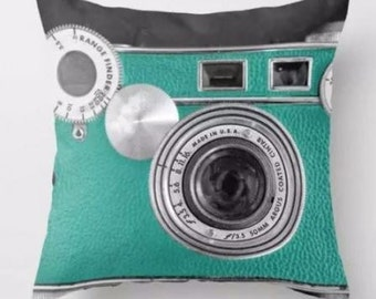 Vintage Teal Camera - Pillow Cover