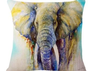 Watercolor Elephant Deer -  Pillow Cover