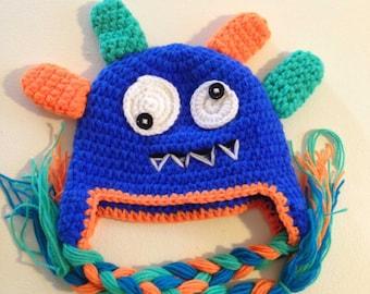 Blue Monster Crochet Kids Hat
