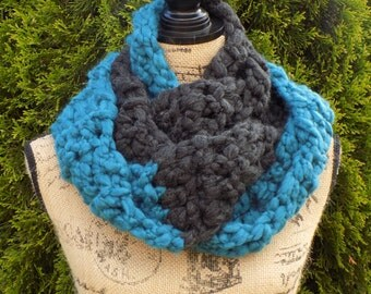 Soft-as-a-Cloud Duo Eternity Scarf- Teal & Charcoal
