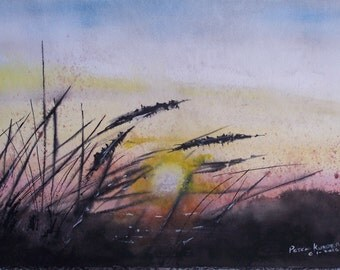 "watercolor painting,seashore painting,dune grass, painting of sunset,beach painting,16""w x 12""h,seashore painting,painting of sunset"