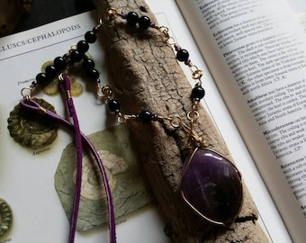 Third Eye talisman| Amethyst & black Jasper Sacred Rhythm Talisman, Fibonacci sequence honoring wearable art, sacred geometry, eco friendly