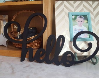 Hello Wood Word Cutout, Scroll Cut Word, Hello Wood Sign, Stand on a Shelf Word, Hello Sign