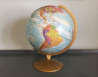 "12"" Reploge World Nation Series Cardboard Terrestrial Art Globe with Metal Stand, 1990s"