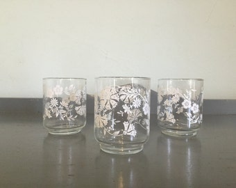 Three White Floral Motif Juice Glasses by Libbey