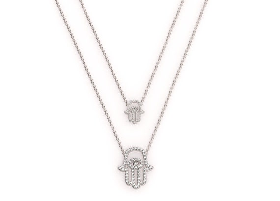 Medium white gold and diamond hamsa pendant on a dainty like this item mozeypictures Gallery