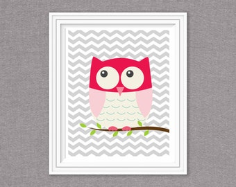 8x10 chevron owl-instant download