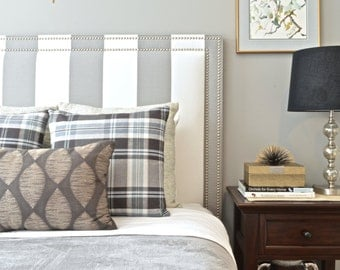 Upholstered Headboard, King, Queen, Full, Twin Size, Oxford Shape, Dark Gray & White Stripe Fabric, Double Row Hammered Nickel Nailheads