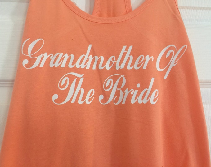 coral orange bridesmaid shirts. grandmother of the bride shirt. ladies bridesmaid t-shirts. wedding party shirts.  bachelorette shirts.