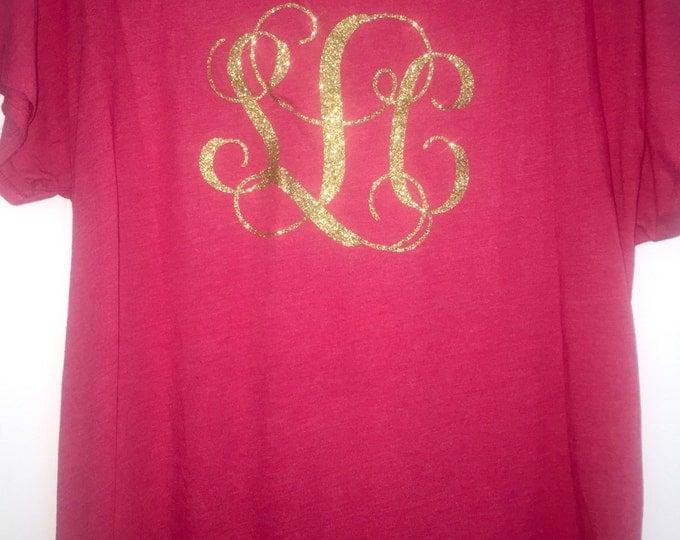 Vine monogram shirt . Three initial monogram shirt with initials on the bottom corner. Birthday Gift, Christmas gift, holiday gift.