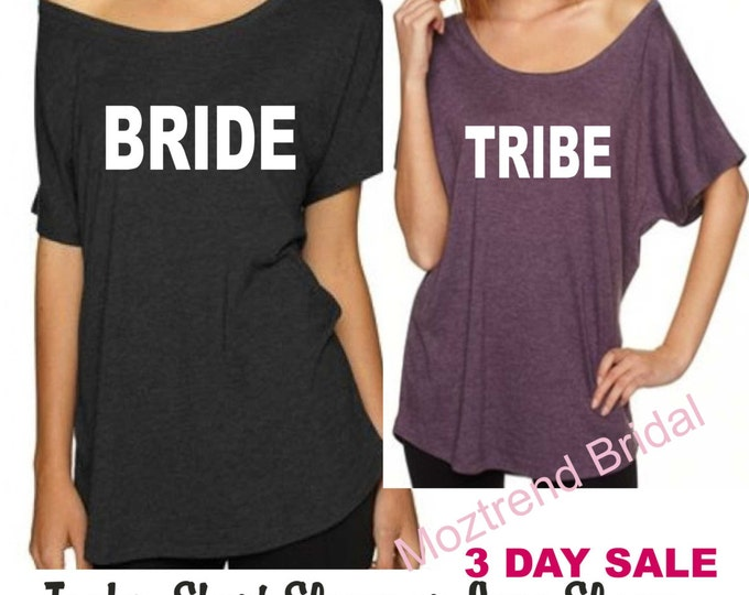 Set of 6 Bachelorette Party Shirts. Tribe and Bride Shirts. Ladies Flowy off the shoulder t-shirts. Drinking shirts. Purple, black,hot pink