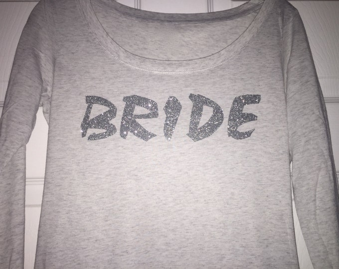 Bride Artsy long shirt . Silver Sparkle Glitter - wide neck , tri- blend soft long shirt - small, medium, large, XL, XXL