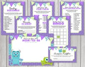 INSTANT DOWNLOAD: Monsters Inc Inspired Printable Baby Shower Game Set, Advice Card & Diaper Raffle