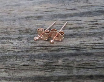 14k Rose Gold Filled TEENY TINY Flat or Ball Stud Earrings - Super Thin 24 Gauge Post Earlobe or Cartilage Earring - Made in USA
