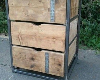 Industrial draw unit steel and reclaimed wood transfromed into this practical solid unit. Made to your measurements