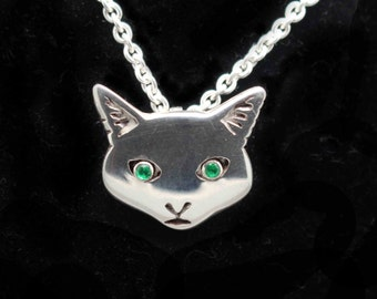 Cat Pendant Necklace - Cat face necklace - Sterling Silver Cat - Cat gift - Cat Jewellery