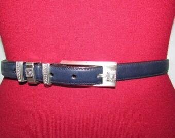 Vintage Brighton Navy Blue Leather Skinny Belt ML