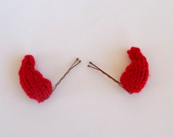 Mini Knitted Red Devil Horns Costume Accessory - Halloween Accessory - Devil Costume Prop - Halloween Decor - Simple Costume - Costume Ears