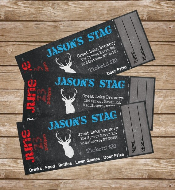 stag buck bachelor event tickets diy digital printed