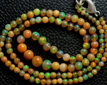 18 Inches Long Strand Necklace, Natural Fully Fire, Yellow Ethiopian OPAL Smooth ROUND Rondelles, Size 3-6.5MM